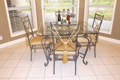Dining Set w/matching 6' tall 3-glass Shelf Display, Modern Exc Like New, Moving... in Rosenberg, Texas