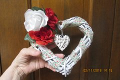 Valentine Wicker Heart-Shaped Wreath - Handcrafted in Kingwood, Texas