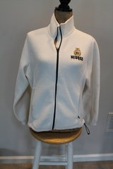 Neuqua Valley Soccer White Fleece Zip Front Jacket, Embroidered Wildcat Logo, Ladies Medium in Bolingbrook, Illinois