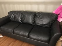 SOFT BLACK LEATHER COUCH in Cherry Point, North Carolina