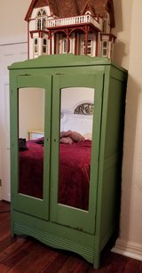 Antique Wardrobe Closet Armoire with Mirrored Doors in Cherry Point, North Carolina