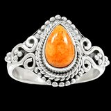 New - Dainty Italian Coral 925 Sterling Silver Ring - Size 7.5 in Alamogordo, New Mexico