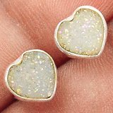 New - Dainty Sparkling White Druzy Heart 925 Sterling Silver Stud Earrings in Alamogordo, New Mexico