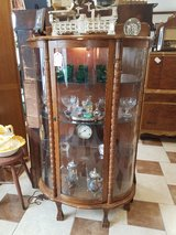 Contemporary Lighted Oak Curved Glass Curio Cabinet in Fort Leonard Wood, Missouri