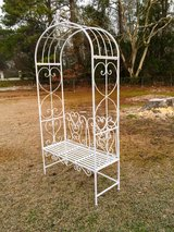 iron garden bench with arch in Camp Lejeune, North Carolina