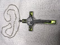 Cross Pendant Large Silver with Green Enamel Double Sided St Benedict Cross Silver Chain Guys or... in Kingwood, Texas