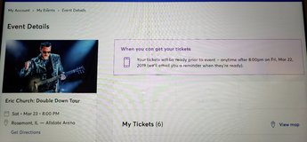 Eric Church – 2 Tickets – Great Seats – 3/23 Allstate Arena in Chicago, Illinois