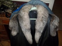 LEATHER LADIES COAT WITH FUR   SIZE MEDIUM in Warner Robins, Georgia