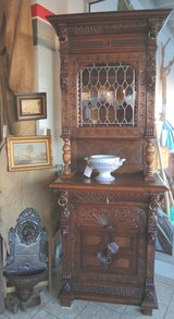 Antique Renaissance style dining room hutch with stained glass in Wiesbaden, GE