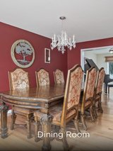 Castillo Montibello Grand wood dining room table and wood buffet in Naperville, Illinois