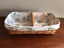 LONGABERGER BREAD BASKET WITH BOTANICAL LINER, 2 PROTECTORS AND WOOD DIVIDER in Bolingbrook, Illinois