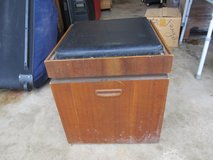 Vintage Black Leather & Wood Ottoman with Storage and Chessboard in Yorkville, Illinois