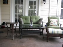 Patio Set - Green Cushions - Dark Brown Resin Wicker - Good Condition in Beaufort, South Carolina