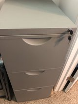 Gray 3 drawer adjustable metal hanging file cabinet in Joliet, Illinois