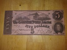 5 dollar confederate bank note 1862 in Fort Leonard Wood, Missouri