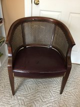 Mid Century Lane Barrel Cane Back Chair with Leather Seat in Joliet, Illinois