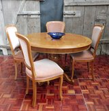 Fine Cherrywood Extendable Table Inlays and 4 Chairs in Ramstein, Germany