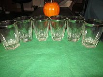Vintage 1960's Set of Six Silver Rimmed Drinking Glasses in 29 Palms, California