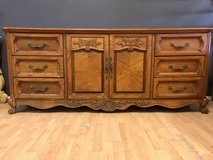 Huge Oak French Buffet Dresser Entertainment Center Amish Made Hand Carved in Fort Leonard Wood, Missouri