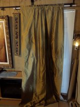 2) 100% Silk Window Treatment Curtains Gold Cotton Lined Slip Rod & 3) Ascot Valance in Alamogordo, New Mexico