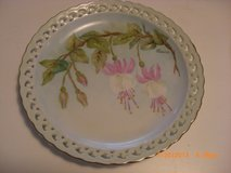 Decorative Plate Reticulated Edge Hand painted Fuschia Flowers Signed in Alamogordo, New Mexico