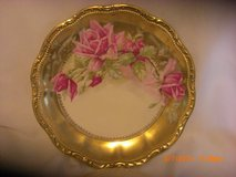 Pink Roses on Heavy Gold Scalloped Scroll and Pearl Edge 364 /1244 in Alamogordo, New Mexico