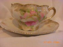 Chic Cabbage Rose Tea Cup & Saucer made in Germany tan in Alamogordo, New Mexico