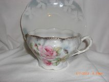 Chic Cabbage Rose Tea Cup & Saucer made in Germany Blue in Alamogordo, New Mexico