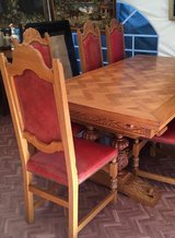 french antique solid wood dinning table + 6 chairs in Ramstein, Germany