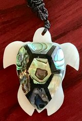 Mother of Pearl Turtle PENDANT NEW ON SILK ROPE NECKLACE in Okinawa, Japan