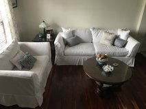 Sofa, oversized chairs, coffee and end table in Camp Lejeune, North Carolina