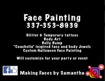 Face Painting, Temporary Tattoo, Body Art in Leesville, Louisiana