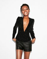 EXPRESS X-Small BLACK VELVET V-NECK TOP silver shirt XS 0-2 in Quad Cities, Iowa