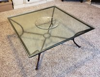 CRATE AND BARREL GLASS AND WROUGHT IRON COFFEE TABLE in Aurora, Illinois