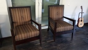 Solid wood, fabric sitting chairs in Ramstein, Germany