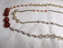Vintage Necklace Pink Various Colors Shapes and Sizes of Pink Beads Double Stranded Extension Ch... in Kingwood, Texas