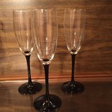3 Luminarc Black Stem Crystal Champagne Flutes (made in France) in Eglin AFB, Florida