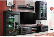 United Furniture - Timber Wall Unit with LED Lights in Black and Red including delivery in Stuttgart, GE