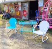 antique iron chairs with bar cart in Cherry Point, North Carolina