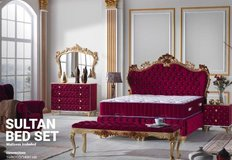 United Furniture - Sultan European Bed Set in Bordeaux-Gold including Mattress and Delivery in Spangdahlem, Germany