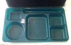 Green cafeteria Lunch trays 6 compartment for camping Picnic Day-care school $2 each in Fort Campbell, Kentucky