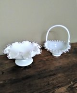 Vtg Silver Crest White Milk Glass Ruffled Candy/Nut Bowl & Bridal Basket EUC in Joliet, Illinois