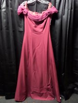 Burgandy Full Length Special Occasion Dress 7/8 with rosettes in Alamogordo, New Mexico