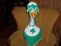 St Patricks Day Girl Crochet Geese Outfit Garden Statue Cllothes in Belleville, Illinois