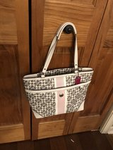 Coach Gray & White Signature Leather Handbag with Pink Stripe and Hot Pink Lining in Aurora, Illinois