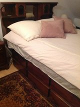 ! 1980's Solid Oak Queen Bed with Mattress in Ramstein, Germany