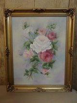 Not Shabby but Chic Pink White Roses Gold Frame Original Oil Painting Canvas in Alamogordo, New Mexico