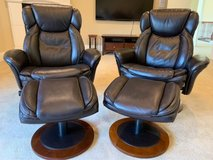 Dark brown recliner chairs with stools in Plainfield, Illinois