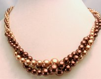 "Brown Beige Ivory 18"" RMN Multi Necklace Pendant Strand Chain Bead Twisted in Houston, Texas"