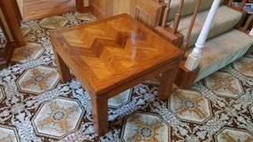 Solid Oak wood inlaid pattern end table or all purpose table in Houston, Texas